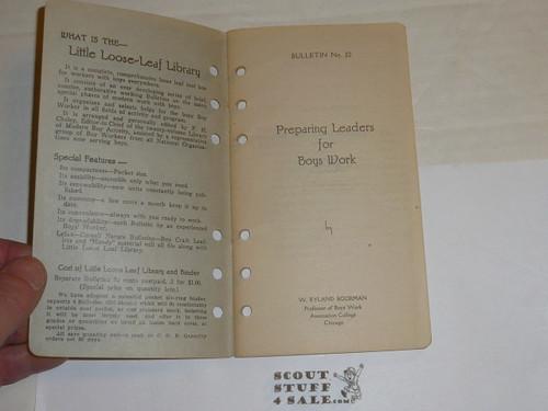 1926 Preparing Leaders for Boys Work, By Frank Cheley, Little Loose Leaf Series Bulletin #22