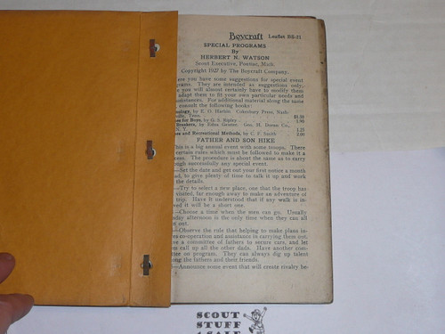 1920's Troop Programs from the Boycraft Leadership Library, By The Boycraft Company, Approved by the BSA, Contains 12 BS Leaflets, RARE