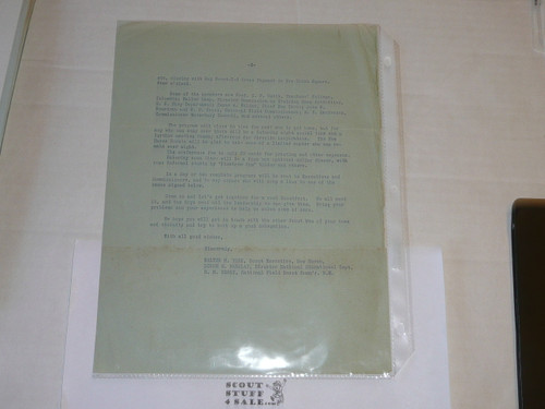 1918 Letter on Boy Scout National Headquarters Stationary regarding an upcoming program, 2 pages