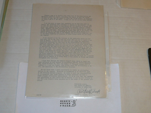 1942 Memo from Arthur Schuck on Official Inter-office memo letterhead, Original Signature