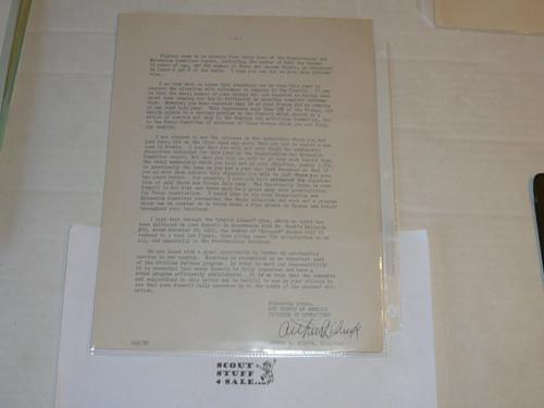 1942 Memo from Arthur Schuck on Official Inter-office memo letterhead, Original Signature