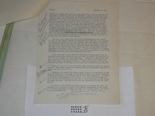 1941 Memo from Arthur Schuck on Official Inter-office memo letterhead,edited by Schuck, 3 pages
