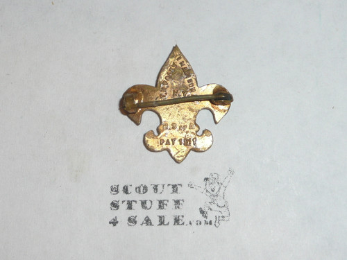 Tenderfoot Scout Rank Pin, Crude Clasp, T.H. Foley Hallmark, TYPE 1 Teens, RARE