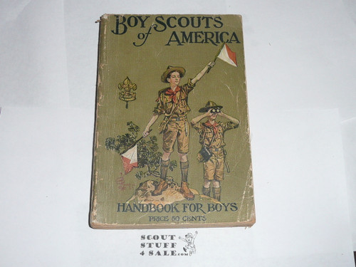 1921 Boy Scout Handbook, Second Edition, Twenty-forth Printing, minimal spine and cover wear