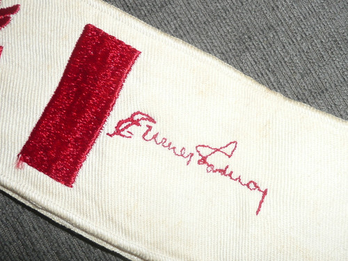 1960's Embroidered On Twill Brotherhood Order of the Arrow Sash, Heavy Twill With Narrow Edge Border, Lite Use, Signed Goodman, signature has been sewn over to preserve
