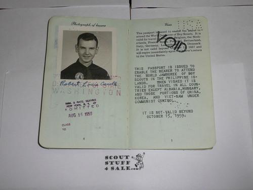1959 World Jamboree, USA Special Passport for BSA Contingent Member Travel