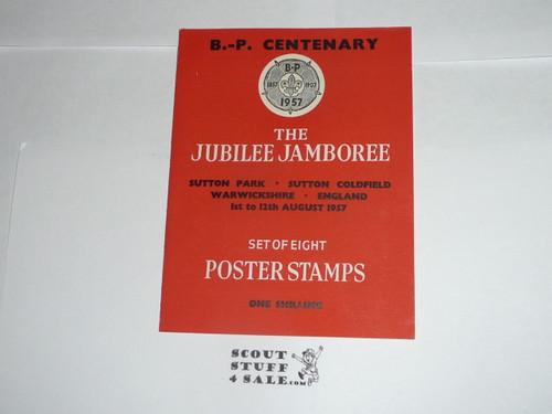1957 World Jamboree Poster Stamp Portfolio with 8 stamps