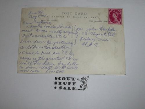 1957 World Jamboree Official Postcard of Jamboree Gateway