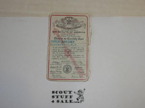 1929 World Jamboree USA Contingent Identification Card