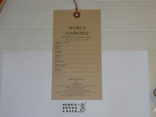 1929 World Jamboree USA/BSA Contingent Luggage Tag in MINT Condition, type 2