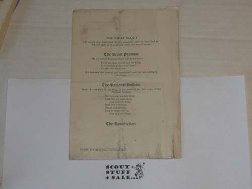 1929 World Jamboree, Scout Thanksgiving Service Pamphlet, August 4, 1929, was in scrapbook