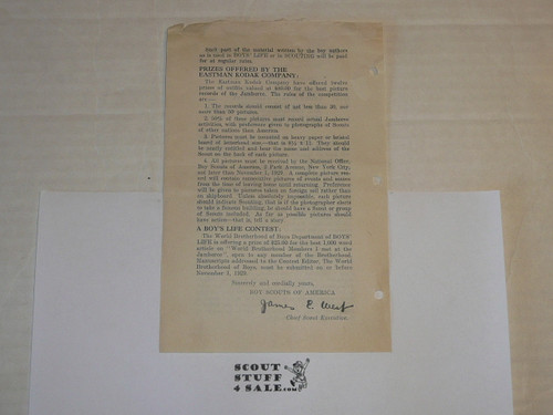 1929 World Jamboree, BSA Professional Bulletin about Book on Jamboree Written by Boys for Boys