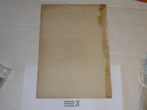 1929 World Jamboree USA Contingent Member Recognition Certificate, blank but yellowed