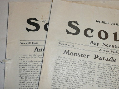 1929 World Jamboree, USA Contingent Newspaper, Scouting Magazine Special, Just missing first issue, 10 days of newspapers