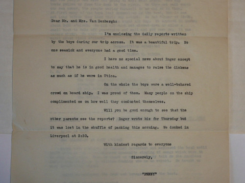 1929 World Jamboree, Reports written by USA Contingent members of a troop while on voyage to the WJ, with cover letter