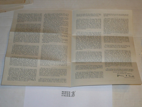 1929 World Jamboree, USA Contingent Special Bulletin from James West and National BSA office