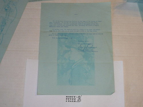 1929 World Jamboree, USA Contingent Home Folks Letter #4 from George Fisher on National BSA Letterhead