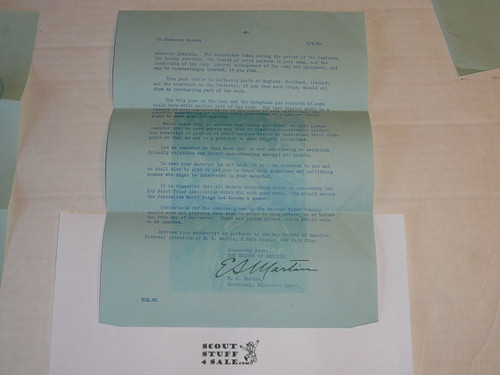 1929 World Jamboree, USA Contingent Letter from E.S. Martin on National BSA Letterhead about the Jamboree Book, with envelope
