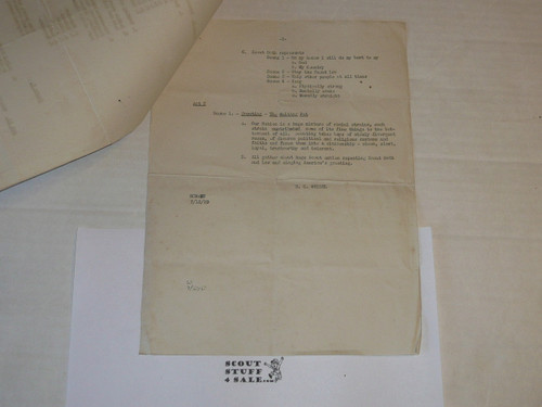 1929 World Jamboree, Script of the American Contingent Performance at the National Pagent