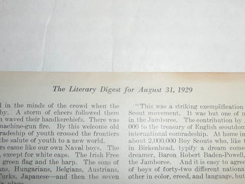 """1929 World Jamboree, Article from """"The Literary Digest"""" dated Aug 31, 1929 about the Great Jamboree"""