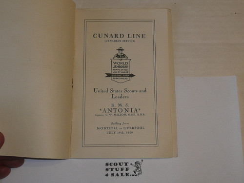 1929 World Jamboree, USA Contingent Souvenir Program and Passanger list on the RMS Antonia headed to the Jamboree