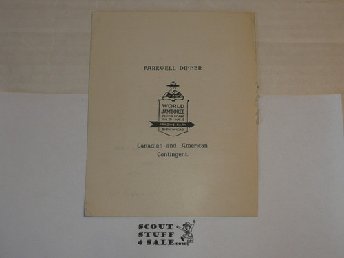 1929 World Jamboree, USA Contingent Souvenir Fairwell Dinner Placard for the RMS Samaria headed to the Jamboree