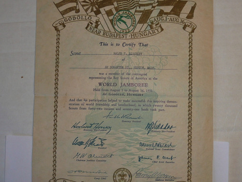 1933 World Jamboree USA Contingent Member Recognition Certificate, presented #2