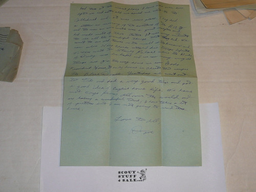 1929 World Jamboree, Letter Home from USA/BSA Contingent Member on Contingent Stationary, with envelope