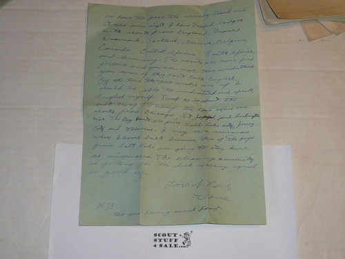 1929 World Jamboree, Letter Home from USA/BSA Contingent Member on Contingent Stationary