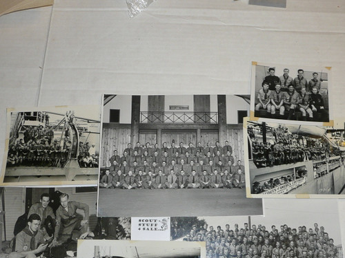1947 World Jamboree, Great Group of 8 large images of some of the USA Contingent Scouts