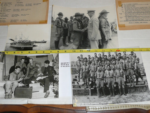 1947 World Jamboree, Great Group of 4 large images of some of the USA Contingent Scouts, with names of pictured Scouts and leaders