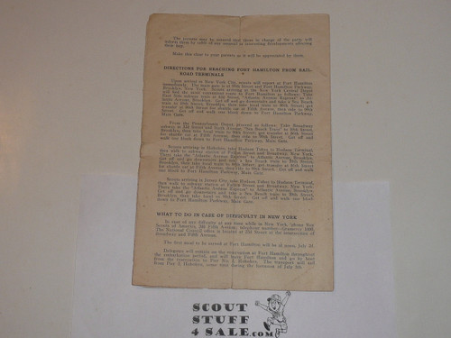 1920 World Jamboree, Boy Scouts of America Information Pamphlet