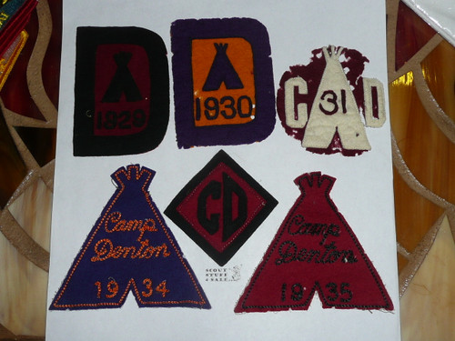 Camp Denton, 1929 - 1935 Felt Camp Patches, lite use with some mothing