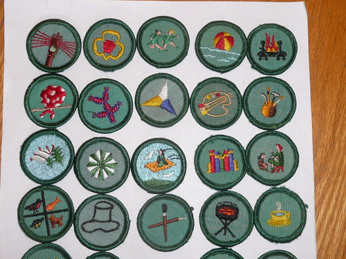 Group of 32 - 1970's Girl Scout Merit Badge Patches, a couple sewn