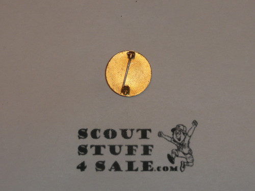 """Assistant Scoutmaster Lapel Pin, Vertical Spin Lock Back, 1940's, 5/8"""" dia, Scarce, MINT"""