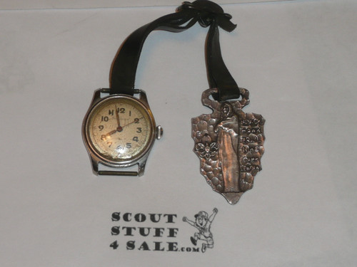 Camp Lowden, Black Hawk Trail Hike Watch fob with an old watch, May be STERLING, RARE, Likely 1930's