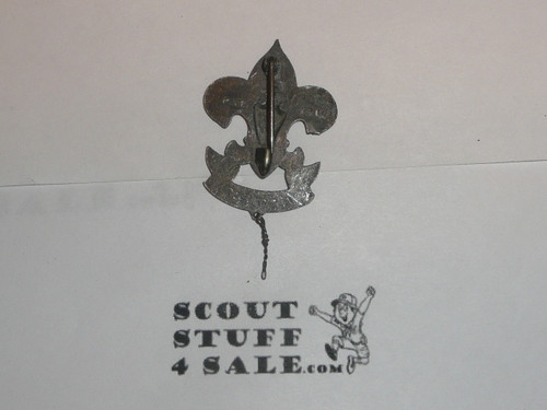 First Class Patrol Leader Hat Pin, Vertical Safety Pin Clasp, Squatty Crown with knot