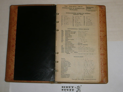 Lefax Boy Scout Fieldbook, Canvas Binding, Used by a 1929 WJ Contingent member, Includes MANY Boy Scout and Lefax Inserts