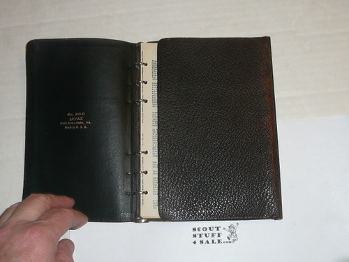 Lefax Boy Scout Fieldbook, RARE Double Leather Binding, Includes Many BSA and Lefax Inserts