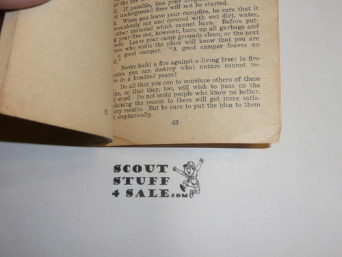 Lefax Boy Scout Fieldbook Insert, Camp Fires and Camp Cookery, 1926 by Comstock Company, 44 pages