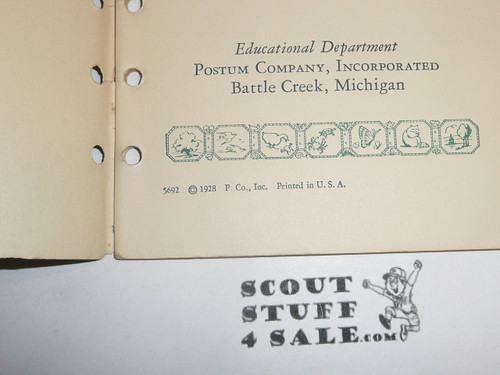 Lefax Boy Scout Fieldbook Insert, Camp Food, 1928 Postum Company