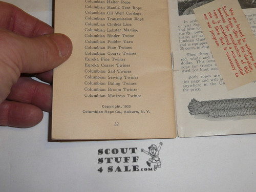 Lefax Boy Scout Fieldbook Insert, Rope Knowledge for Scouts, 1933 by Columbian Rope Company, 34 pages
