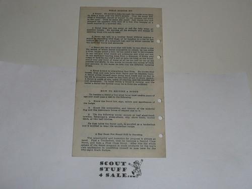 Lefax Boy Scout Fieldbook Insert, Boy Scout Application for Membership, 1922, BS733