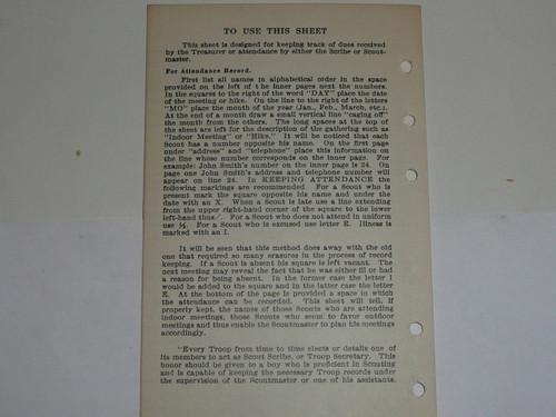 Lefax Boy Scout Fieldbook Insert, Scribe's Record, BS713