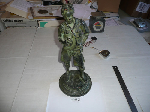 Mckenzie plaster statue from the teens, very minor chips, verde finish, 16.5 tall 7 wide