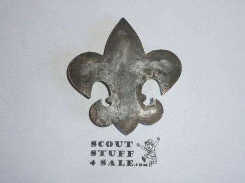 metal high quality boy scout emblem, silver finish, 3 tall by 2.75 wide