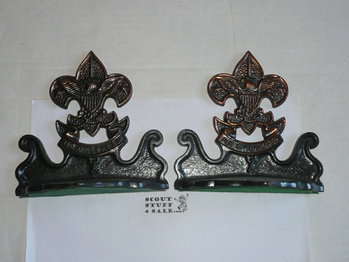 bronze boy scout book ends, pair, heavy, 6 wide by 6 tall