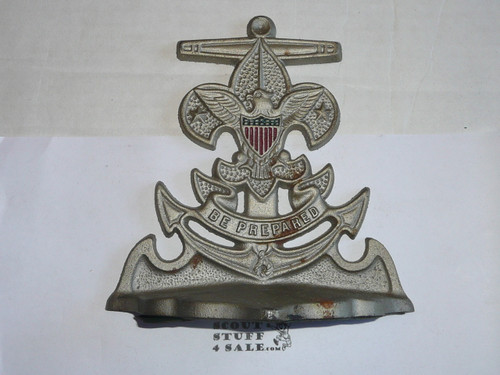 sea scout cast book end, single not pair, 6.5 by 6.5