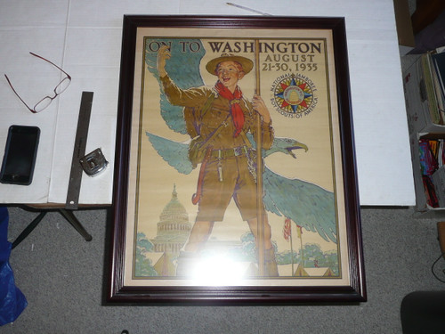 1935 national jamboree norman rockwell poster, professionally framed archival matt, 24 in. wide by 29.5 in. tall, poster had minor wrinkling but in outstanding condition