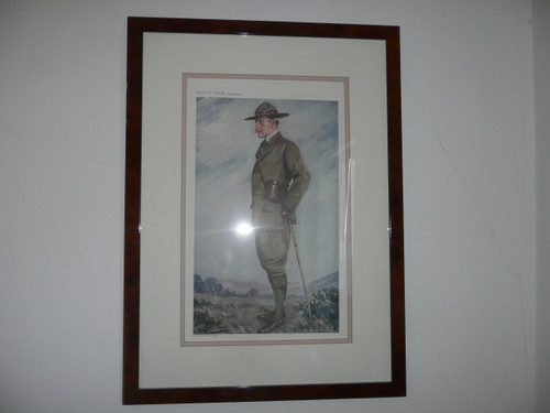 vanity fair picture of Baden Powell, Professionaly framed archival matted, 15 wide by 20. 5 tall